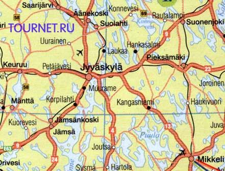 Карта Центральной Финляндии. »