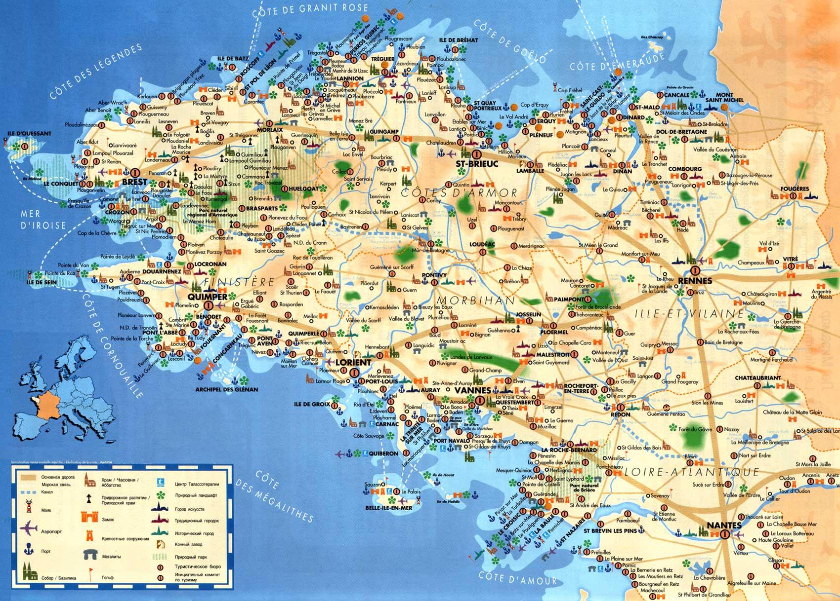 Карта бретань франция