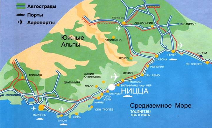 Карта лазурного берега франции