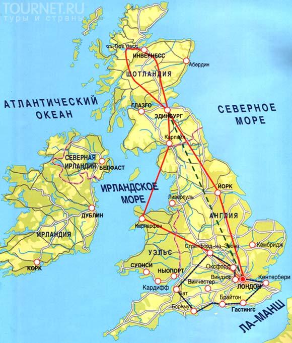 Схематическая карта великобритании
