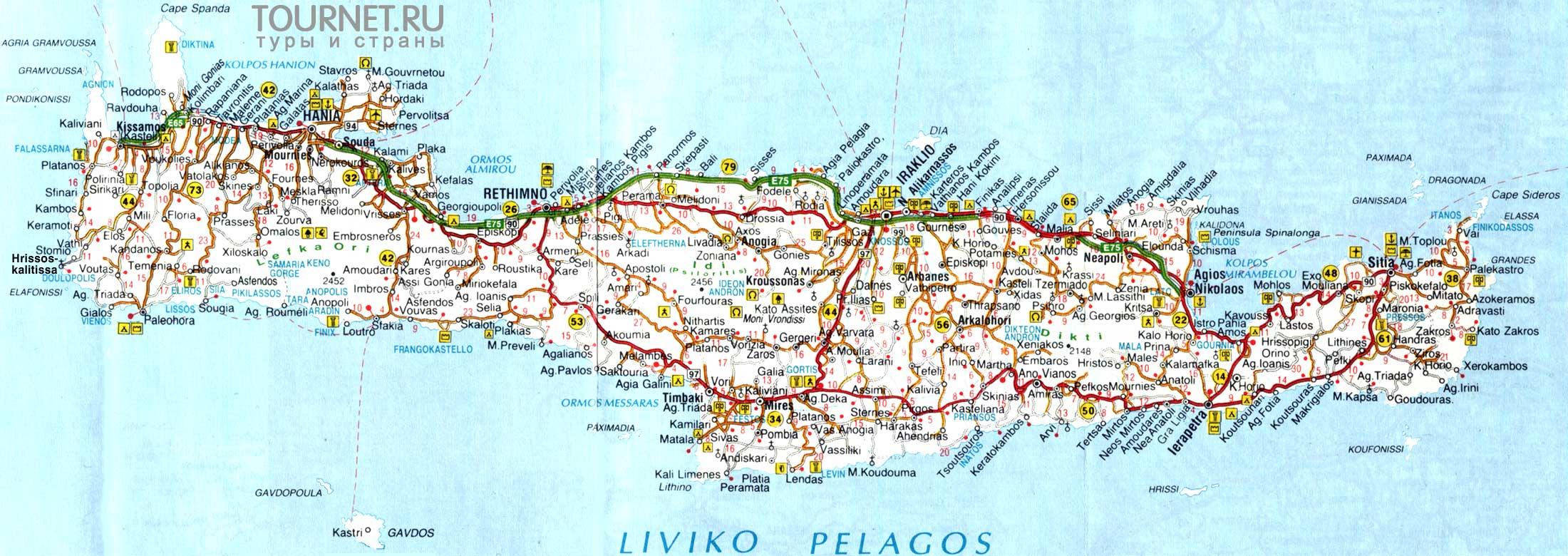Karta Ostrova Krit