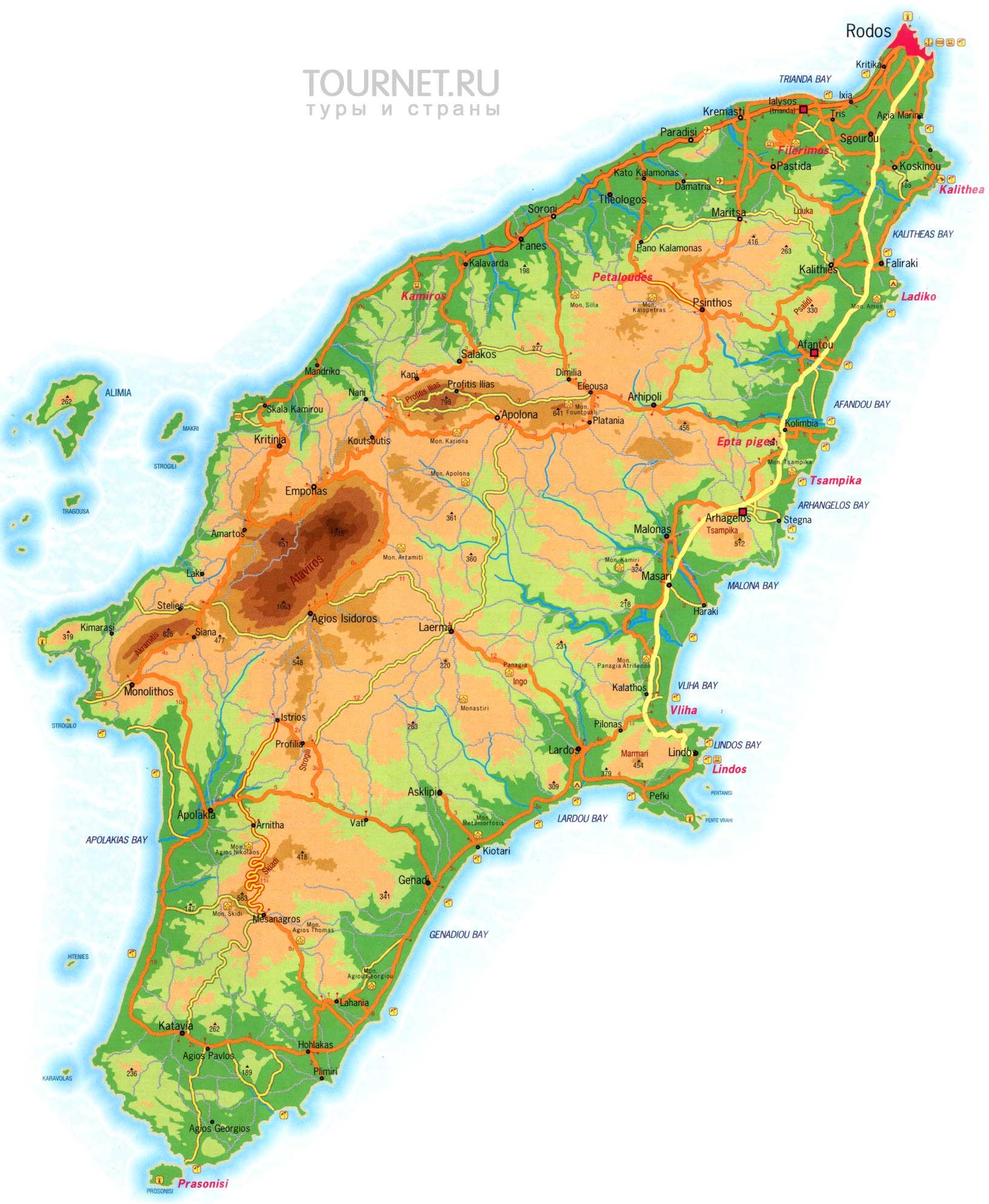 Греция, карта Родоса.